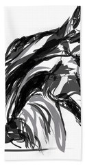 Horse- Apple -digi - Black And White Hand Towel