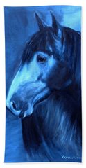 Horse - Carol In Indigo Bath Towel by Go Van Kampen