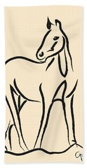 Hand Towel featuring the painting Horse - Grace by Go Van Kampen
