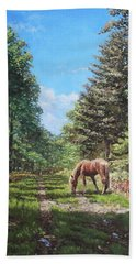 Horse In New Forest Hand Towel