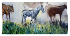 Horses In The Fog Hand Towel