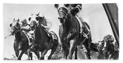 Horse Racing At Belmont Park Hand Towel