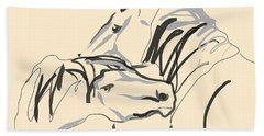 Bath Towel featuring the painting Horse - Together 4 by Go Van Kampen