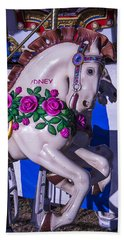 Horse With Roses Hand Towel