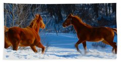 Horses At Play Bath Towel
