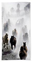 Horses Galloping Bath Towel