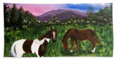 Hand Towel featuring the painting Horses by Jamie Frier