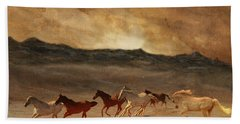 Horses Of Stone Hand Towel by Melinda Hughes-Berland