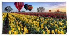 Bath Towel featuring the photograph Hot Air Balloons Over Tulip Fields by William Lee