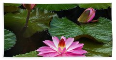 Hot Pink And Green Tropical Waterlilies Bath Towel