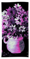 Hot Pink Flowers Bath Towel
