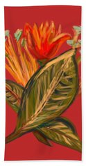 Hand Towel featuring the digital art Hot Tulip R by Christine Fournier