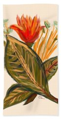 Hand Towel featuring the digital art Hot Tulip Spring by Christine Fournier