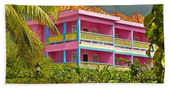 Hand Towel featuring the photograph Hotel Jamaica by Linda Bianic