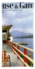 House & Garden Cover Of Women Sitting On The Deck Bath Towel