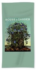 House And Garden Cover Featuring Flowers Growing Bath Towel