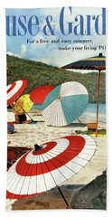 House And Garden Featuring Umbrellas On A Beach Hand Towel