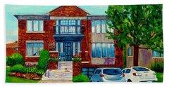 House Portrait-house  Art-commissioned  Montreal Paintings-carole Spandau Hand Towel