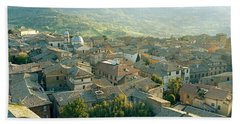 Houses In A Town, Orvieto, Umbria, Italy Bath Towel