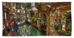Bath Towel featuring the painting Houses In Venice Italy by Georgi Dimitrov