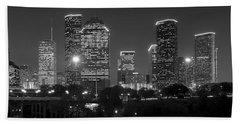 Houston Skyline At Night Black And White Bw Bath Towel