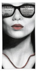 Bath Towel featuring the painting How Do I Love Thee...let Me Count Your Money by Pat Erickson