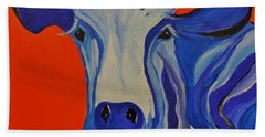 How Now Blue Cow Hand Towel by Janice Rae Pariza