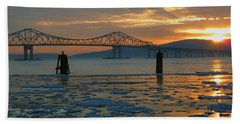 Hudson River Icey Sunset Bath Towel by Jeffrey Friedkin