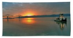 Hudson River Sunset Bath Towel by Jeffrey Friedkin