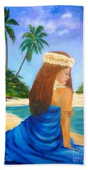 Hand Towel featuring the painting Hula Girl On The Beach by Jenny Lee