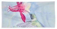 Hummingbird And Columbine Bath Towel
