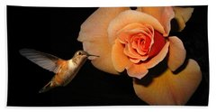Hummingbird And Orange Rose Hand Towel by Joyce Dickens