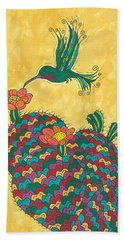 Bath Towel featuring the painting Hummingbird And Prickly Pear by Susie Weber