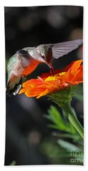 Hummingbird And Zinnia Bath Towel