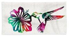 Hummingbird Art - Tropical Chorus - By Sharon Cummings Hand Towel
