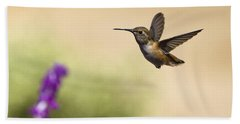 Hand Towel featuring the photograph Hummingbird In Flight by David Millenheft
