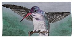 Hand Towel featuring the drawing Hummingbird by Kume Bryant