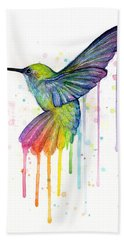 Hummingbird Of Watercolor Rainbow Bath Towel