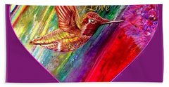 Hummingbird Spreads Peace And Love Bath Towel by Kimberlee Baxter