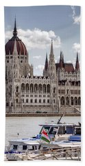 Hungarian Parliament Across The Danube Bath Towel