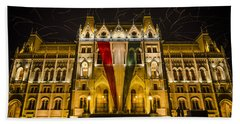 Hungarian Parliament At Night Bath Towel
