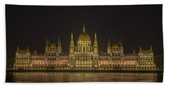 Hungarian Parliament Building Night Bath Towel