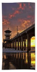 Huntington Beach Pier Hand Towel by Peggy Hughes