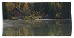 Hut By The Lake Bath Towel by Cheryl Miller
