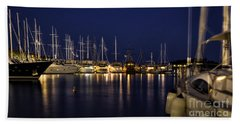 Hvar Harbor At Night Hand Towel