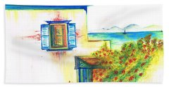 Bath Towel featuring the painting Greek Island Hydra- Home by Teresa White