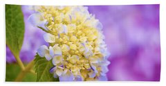 Hydrangea On Purple Hand Towel by Parker Cunningham