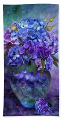 Hydrangeas In Hydrangea Vase Bath Towel