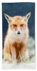 I Can't Stand The Rain  Fox In A Rain Shower Hand Towel