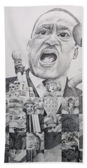 Bath Towel featuring the drawing I Have A Dream Martin Luther King by Joshua Morton